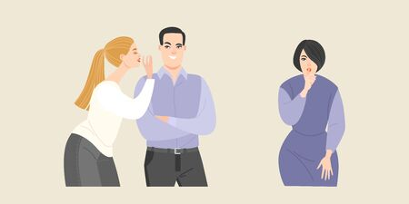 Eine Gruppe junger Leute, die sich gegenseitig Geheimnisse erzählen. Ein Mädchen flüstert einem Kerl ins Ohr und ein anderes Mädchen hält einen Finger an ihre Lippen.