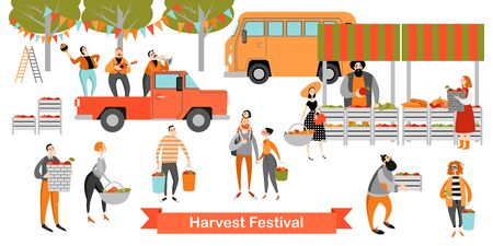 Harvest Festival. Happy people buy vegetables and fruits in a small market. Vector illustration on a white background