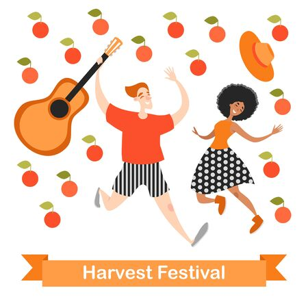 Two funny cartoon characters are dancing at a harvest festival. Falling apples. Vector illustration on a white background 向量圖像