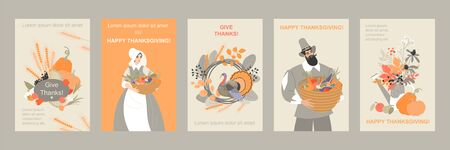 Set of thanksgiving banners with cute pilgrim characters and emblems from plants and vegetables and turkey. Cute vector images for design cards and flyers. Иллюстрация