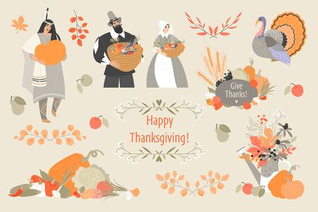 Thanksgiving illustrations set with cute pilgrim and native american characters, plant and vegetable emblems and turkey. Cute vector images for design of cards and banners. Иллюстрация