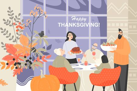 Vector illustration of a happy family celebrating Thanksgiving. Traditions uniting generations. Funny characters in cartoon style.
