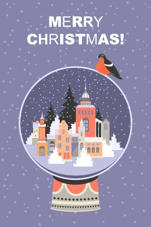 Christmas card with a big glass ball with a winter cityscape inside. Illustration for banner design.