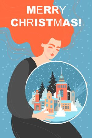 Christmas card with a girl holding a large snow globe with a winter cityscape inside. Cute vector fairy tale illustration.