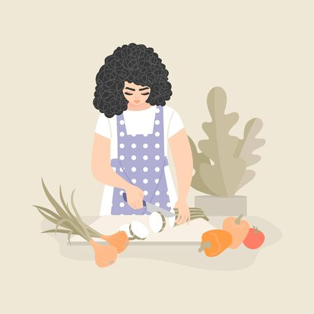 Pretty woman slices zucchini and other vegetables for cooking vegetable stew. Healthy food isolated illustration