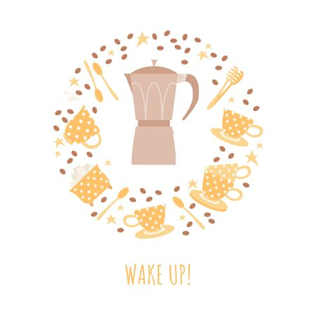 Wake up concept with coffee pot, set of cups and coffee beans. Vector illustration in a flat style.