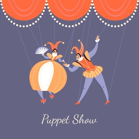 Illustration of a performance in a puppet show. A pair of puppets in traditional Italian theatrical costumes. Vector image in cartoon style.