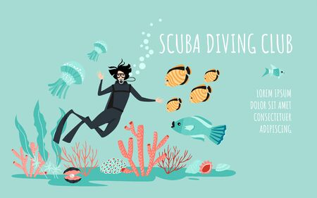Scuba diving club banner template with a diver surrounded by fish, algae and other inhabitants of the coral reef. Cartoon illustration in a flat style. Vectores