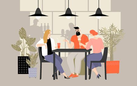 A group of friends spends time at a table in a cafe, drinking cocktails and chatting. Illustration in a flat style.