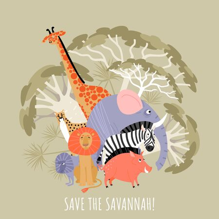 Save savannah eco concept. Vector illustration with african animals and plants. Cartoons in a flat style. 向量圖像