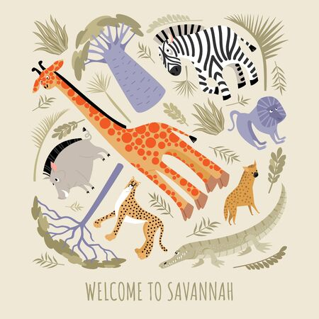 Welcome to the savannah. Vector illustration with african animals and plants. Cartoons in a flat style.