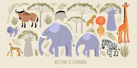 National parks. Welcome to the savannah. Vector illustration with african animals and plants. Cartoons in a flat style.