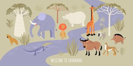 Welcome to the Savannah banner. Vector illustration with river, african animals and plants. Cartoon images in flat style.