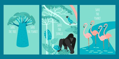 Save the jungle. Save the planet. Set of vector illustrations with african rainforests, river, wild animals and birds. Image in a flat style.