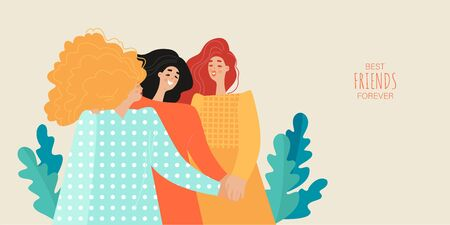 Friendship day vector banner template with three cute girls holding hands. Best friends forever. Cartoon illustration in a flat style.