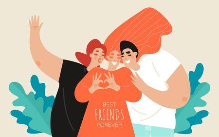 Friendship day vector banner template with two girls and a guy. Group of young people posing. Best friends forever. Cartoon illustration in a flat style.