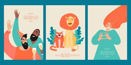 Set of vector templates for cards or banners for the day of friendship with funny characters of people and animals. Best friends forever. Cartoon illustration in a flat style.