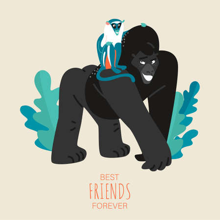 Vector friendship day card with funny gorilla and monkey. Best friends forever. Cartoon illustration of animals in a flat style.