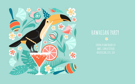 Hawaiian party banner template with toucan sitting on a glass with a cocktail, tropical plants, maracas and shells. Summer adventures illustration in flat style. Illustration