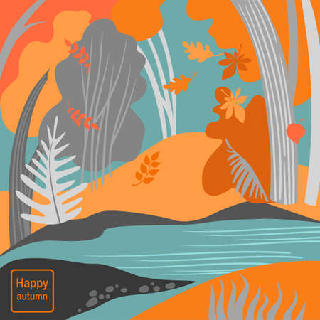 Vector illustration of autumn forest. Nature landscape with red and yellow trees.