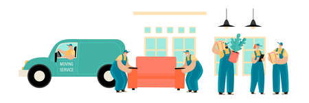 Set of vector illustrations of a moving service with men in uniform driving and carrying furniture and cardboard boxes. Movers at work. Cartoons in a flat style.