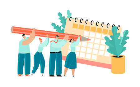 Conceptual illustration of project planning teamwork with people holding a huge pencil and calendar.Cartoon characters in a flat style.