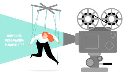 How propaganda manipulates. Conceptual illustration with a puppet girl and a movie projector. The influence of media on public opinion. Image in a flat style. Banco de Imagens - 151514407