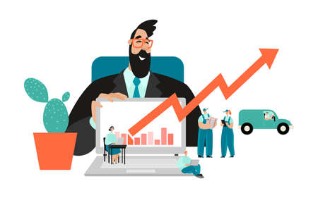 Conceptual illustration of well-coordinated teamwork with a manager showing the growth of enterprise revenues on a laptop screen and a call center and delivery service. Logistic business. Vector cartoon image in flat style