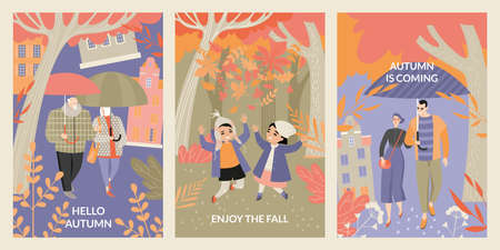 Set of vector cards with happy children, young and old people on the background of the autumn forest and cityscape. Enjoy the fall. Illustration with cute characters in flat style