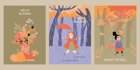Set of vector cards with happy children having fun on the background of the autumn forest and a bouquet of red and orange leaves. Enjoy the fall. Illustration with cute characters in flat style