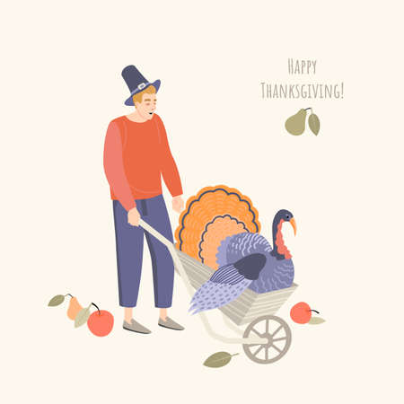 Thanksgiving illustration with a young man wearing a pilgrim hat and a turkey in a garden wheelbarrow. Image in flat style