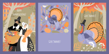 Set of vector thanksgiving cards with people in pilgrim costumes and turkey on the background of the autumn forest, fruits and vegetables. Images in flat style Illustration