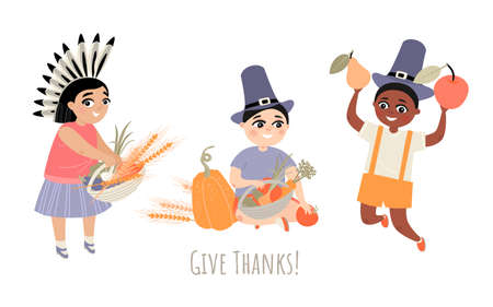 Thanksgiving greeting card with three cute children in vintage hats and a headdress of feathers holding vegetables and fruits. Illustration of cartoon characters in flat style