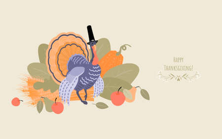 Thanksgiving banner with a turkey wearing a pilgrim hat on a background of plants. Illustration in flat style