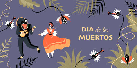 Dia de los muertos banner with a funny couple in traditional Mexican clothes and painted faces dancing and playing guitar. Cartoon illustration in flat style