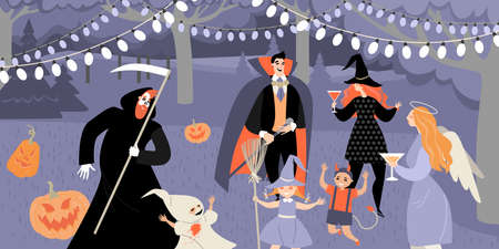 Vector illustration of parents and children in costumes celebrating halloween in the garden. Fun family party illustration in flat style
