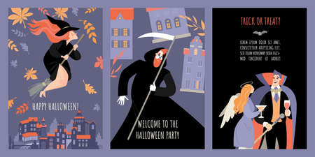 Set of vector invitation banners for halloween party with cartoon funny characters in costumes and witch flying over the city. Illustrations in flat style Vettoriali