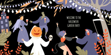 Vector invitation banner for halloween garden party with people in costumes of monsters dancing and drinking wine. Illustration in flat style Vettoriali