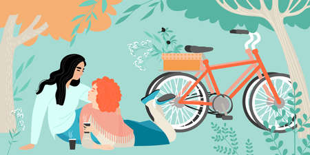 Two young girls on a picnic in the park. Cute lgbt couple drinking coffee and relaxing. Vector illustration in flat style