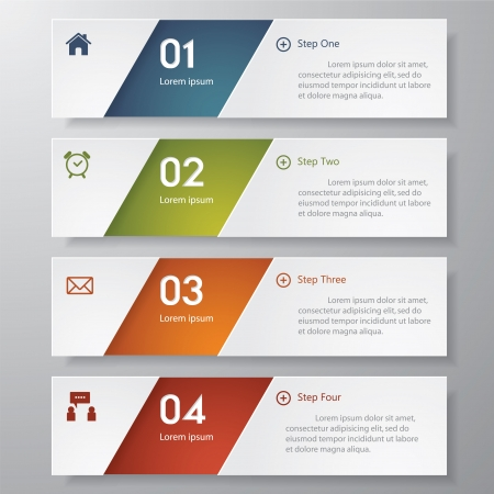 Design clean number banners template graphic or website layout timeline