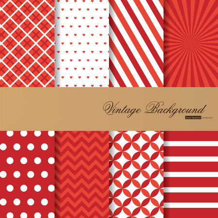 Collection of 8 vector backgrounds in vintage style Vector