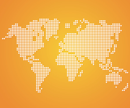 Dot World maps and globes on orange color background. Vector Illustration