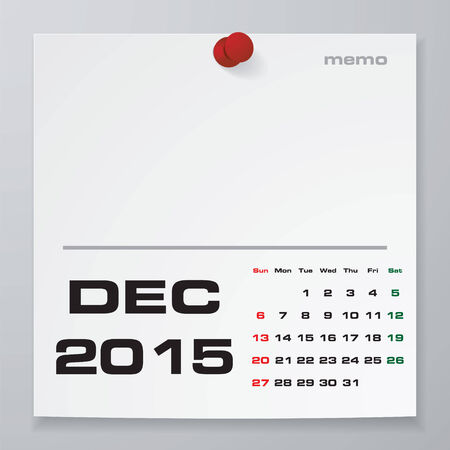 Simple 2015 Year Vector Calendar With Free Space For Your Sample Text :  December 2015