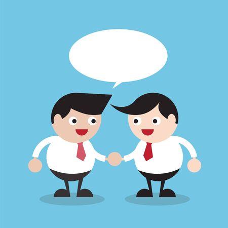 manos unidas: 2 hombres de negocios apret�n de manos con la burbuja del discurso vac�o