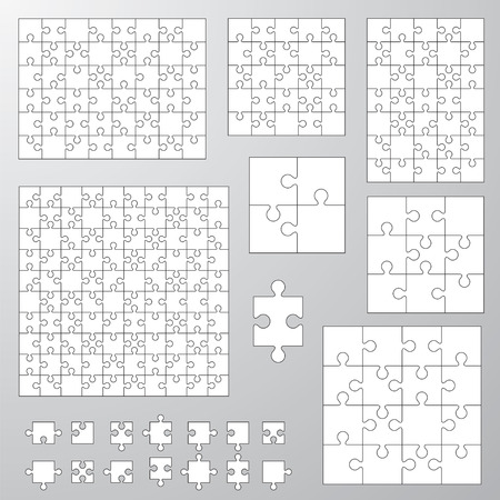 collection of various sizes jigsaw puzzle 向量圖像