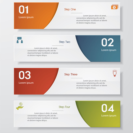 business banner: Design clean number banners templategraphic or website layout. Vector.