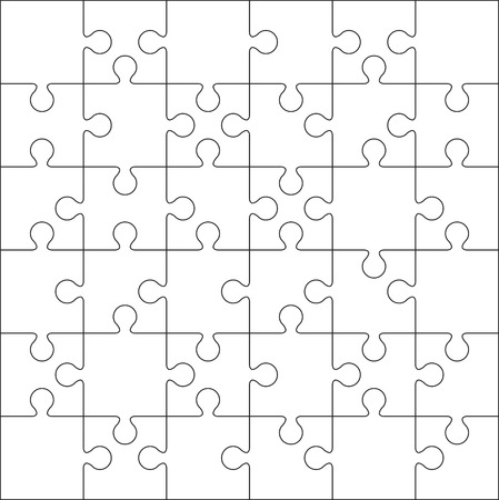 guidelines: 36 Jigsaw puzzle blank template or cutting guidelines Illustration