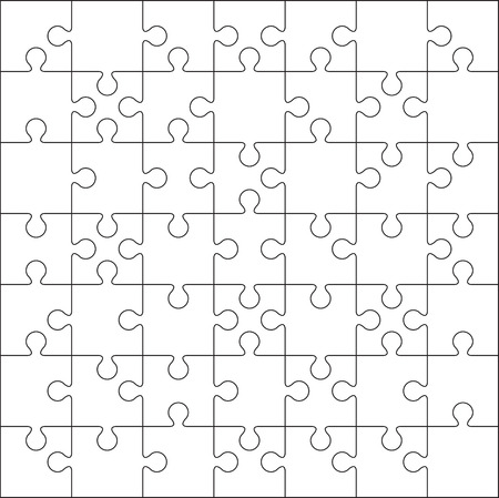 49 Jigsaw puzzle blank template or cutting guidelines on 7*7 dimension. Иллюстрация