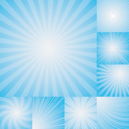 ライトブルー カラー バーストの背景のコレクションです。ベクトル図