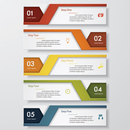 origami numbers: Design clean number banners templategraphic or website layout. Vector.